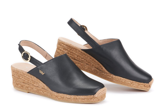 Buy Salionca Leather Espadrille Wedge Clogs - Black online