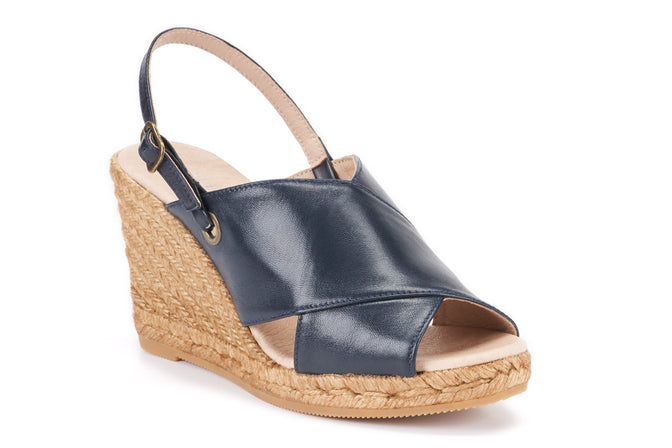 Buy Oltrera Leather Espadrille Wedge Mules - Navy online