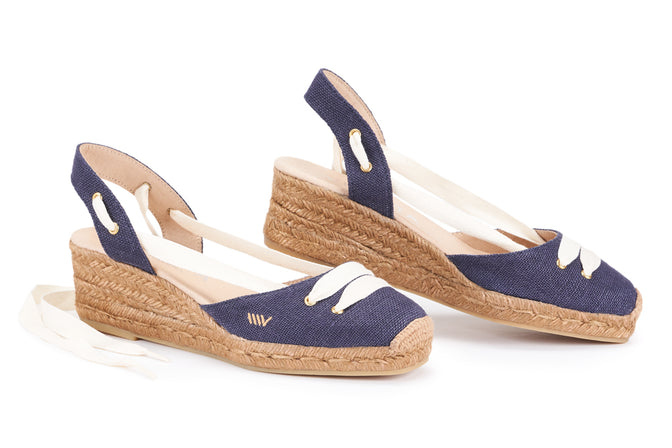 Buy Aromir Linen Slingback Wedges - Navy Ivory Lace online