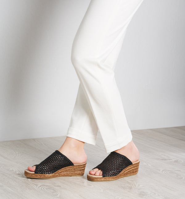 Malgrat Raffia Wedge Mules - Black - VISCATA meta-lifestyle