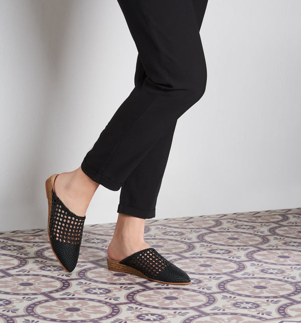 Maset Raffia Slip-On Mules - Black - VISCATA meta-lifestyle
