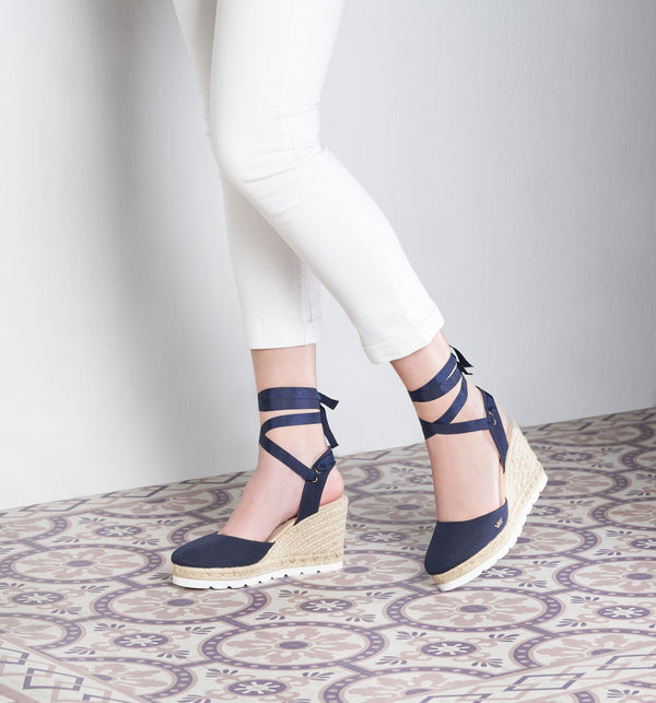 Beleser Canvas Mix Sole Wedges - Navy - VISCATA meta-lifestyle