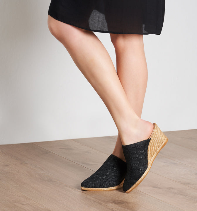 Buy Mila Raffia Espadrille Wedge Clogs - Black online