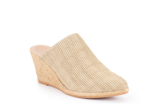Buy Mila Raffia Espadrille Wedge Clogs - Beige online
