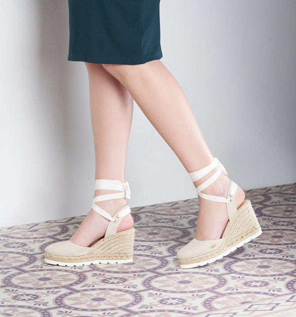 Beleser Canvas Mix Sole Wedges - Beige - VISCATA meta-lifestyle