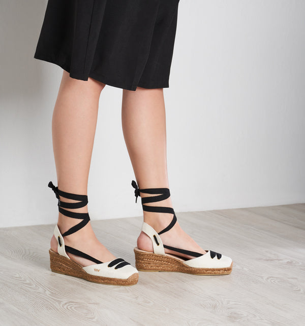 Aromir Linen Slingback Wedges - Ivory Black Lace - VISCATA meta-lifestyle