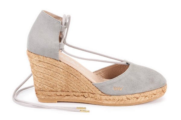Aro Suede Wedges - Ash Grey - VISCATA