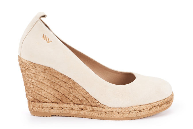 Buy Marquesa Suede Wedge Pumps - Cream online