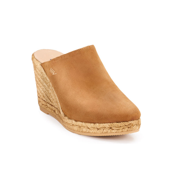 Estreta Suede Clogs - Whiskey Brown