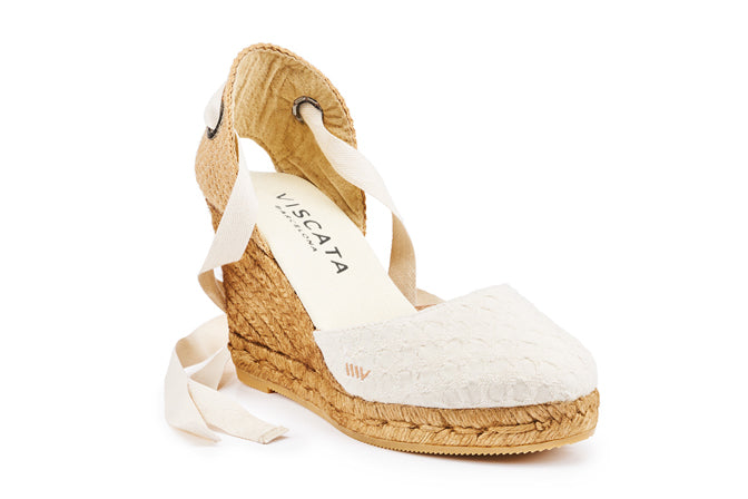 Buy Sagaro Canvas Wedges - Bubble Ivory online