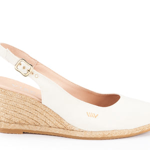 Palomera Canvas Slingback Buckle Wedges - Ivory