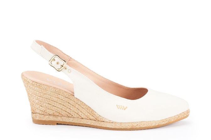 b0453673c42 Palomera Canvas Slingback Buckle Wedges - Ivory - VISCATA
