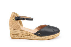 Pubol Leather Espadrille Wedges - Black