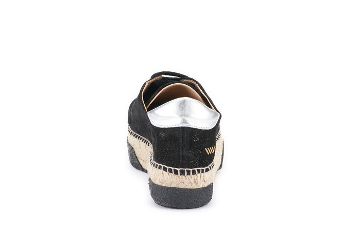 Buy Vigata Leather Lace-up Platform Espadrilles - Black Sheen online
