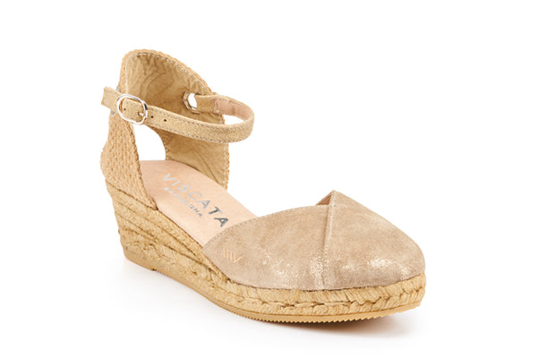 Pubol Leather Espadrille Wedges - Gold Sheen