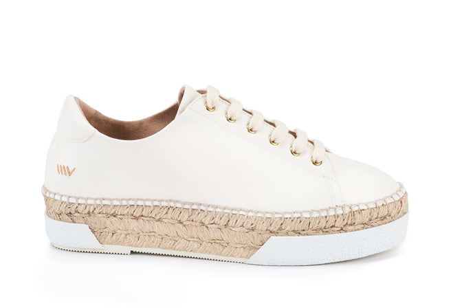Buy Vigata Leather Lace-up Platform Espadrilles - Ivory online