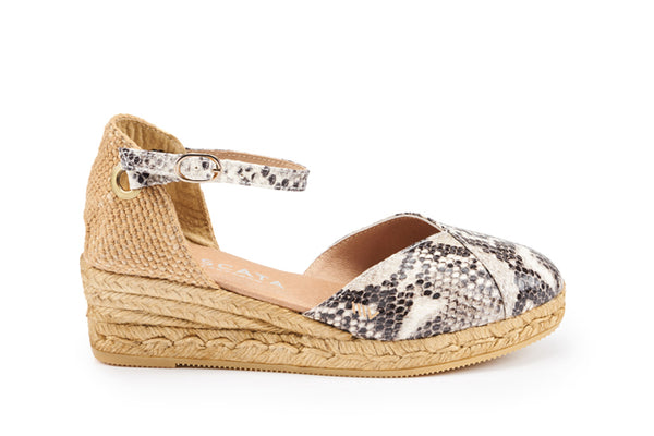 Pubol Leather Espadrille Wedges - Python
