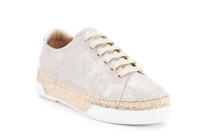 Buy Vigata Leather Lace-up Platform Espadrilles - Silver Sheen online