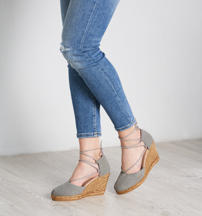 Buy Aro Canvas Wedges - Ash Grey online