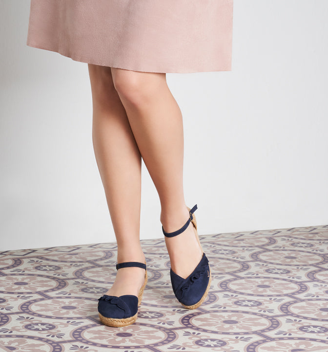 15a4bb19a29 Vilassa Suede Espadrille Wedges with Frill - Navy - VISCATA