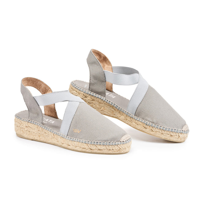 Buy Cadaques Canvas Espadrille Wedges - Ash Grey online