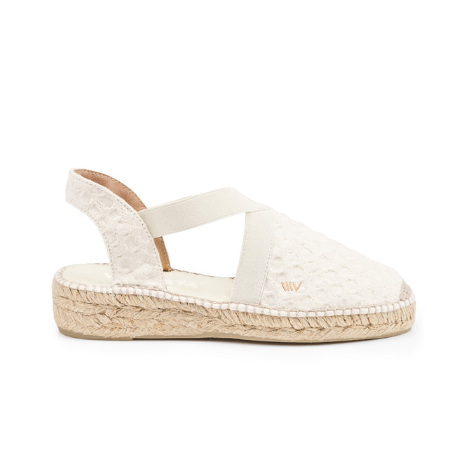 Buy Cadaques Canvas Espadrille Wedges - Bubble Ivory online