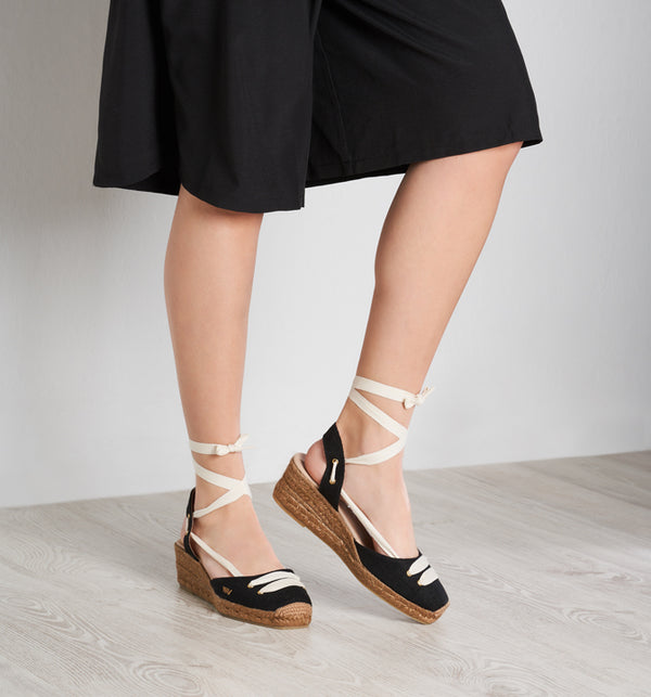 Aromir Linen Slingback Wedges - Black Ivory Lace - VISCATA meta-lifestyle