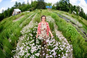 Danielle outstanding in her Franktown House flower fields