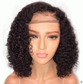 Density Brazilian Curly 360 Lace Front Wigs Short Human Hair Bob Wigs