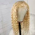 140% Human Hair Wave/Straight Wigs Blonde Color
