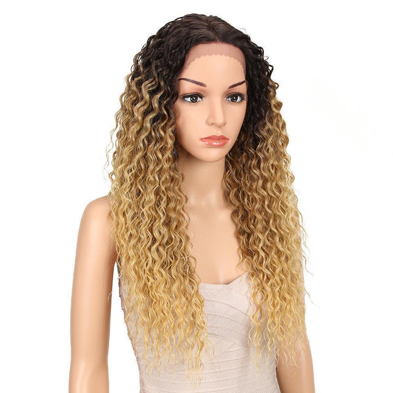 Synthetic Lace Front Wigs  Supper Long Deep Natural Wave Ombre Blond  Hair Wigs For Black Women Fashion