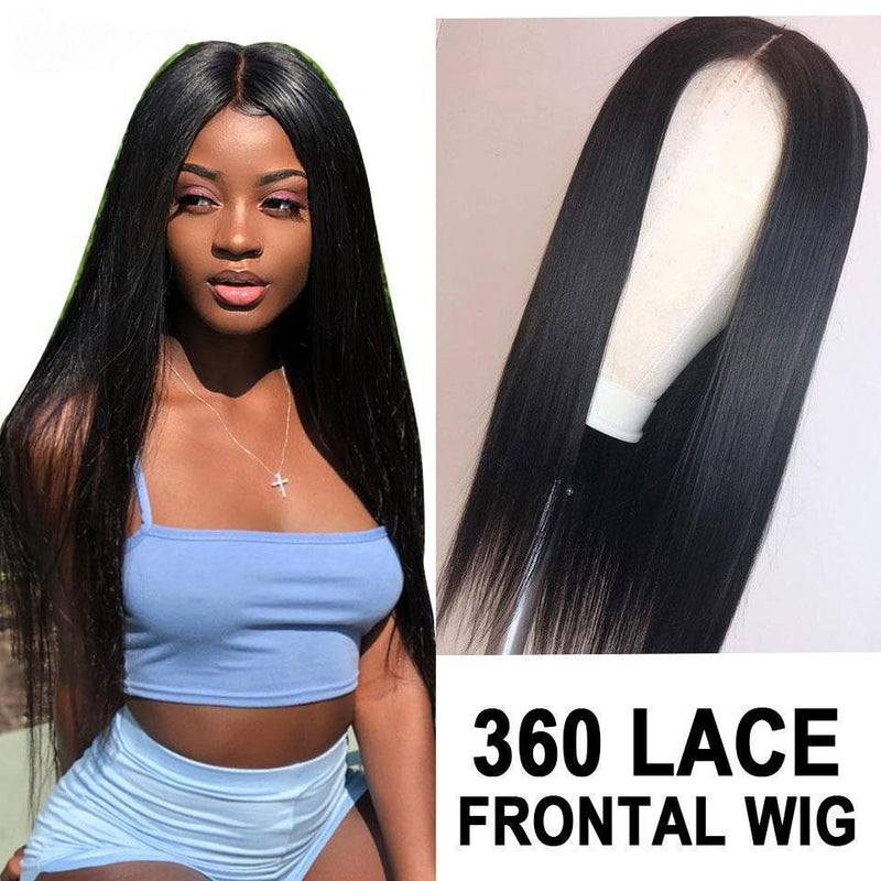 Transparent lace  Silky Straight Lace Front Human Hair Wigs Hair Natural Hairline Bleached Knot Peruvian Remy Hair Lace Wig