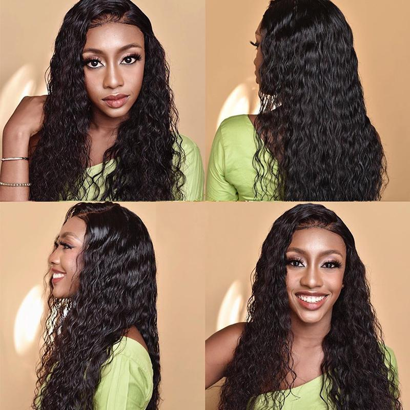 Water Wave Human Hair Wigs Lace Front Wigs For Black Women Remy Mongolian lace Front Human Hair Wigs