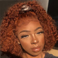 Preferred Red Curly Human Hair Wig With Baby Hair Brazilian Remy Hair Ombre Honey Blonde Lace Front Wigs For Black Women