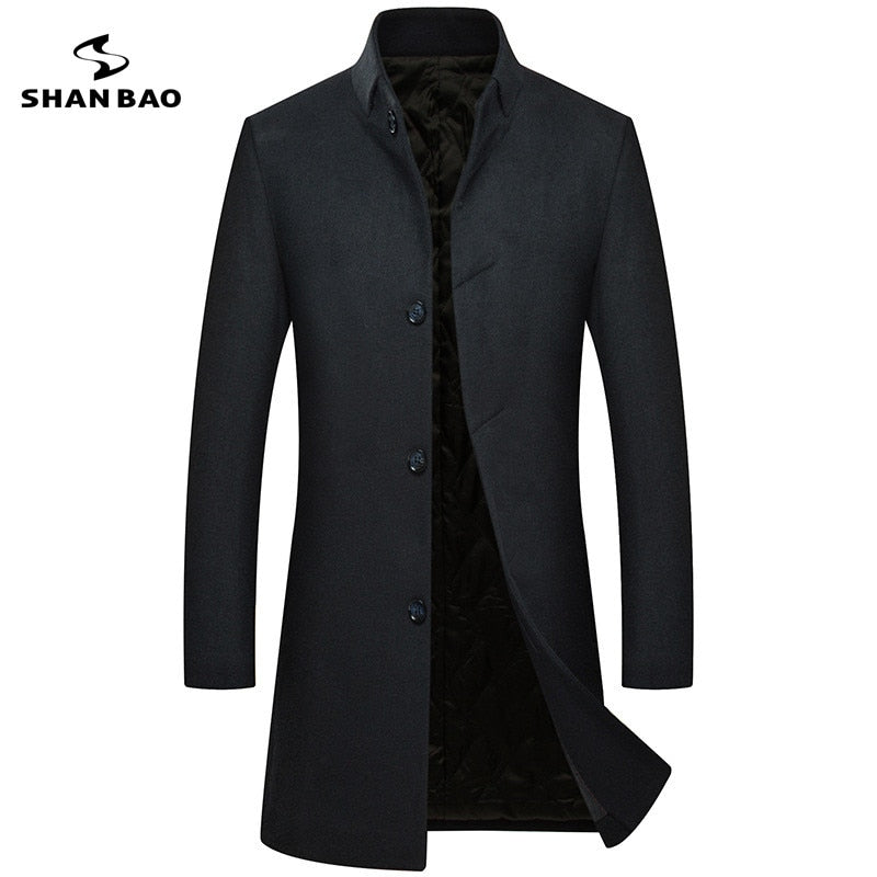 Luxury high quality long men's casual wool coat dark buckle 2018 winter thick warm business gentleman slim wool jacket A1803
