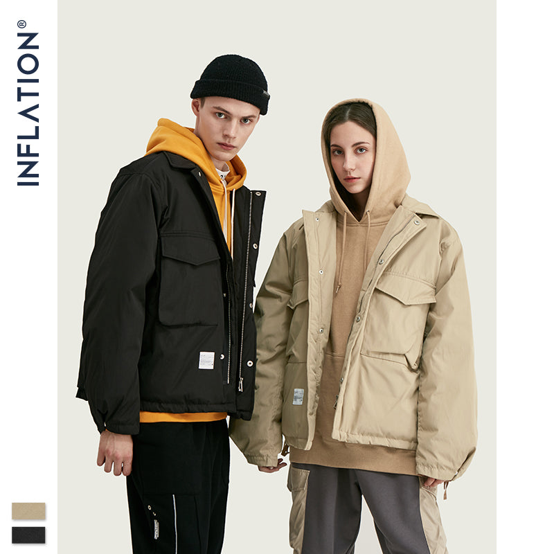 INFLATION 2019 Turn Down Collar Down Jacket Men Streetwear Loose 70% Down Winter Jacket Men Hip Hop Stitching Men Outwear 9750W