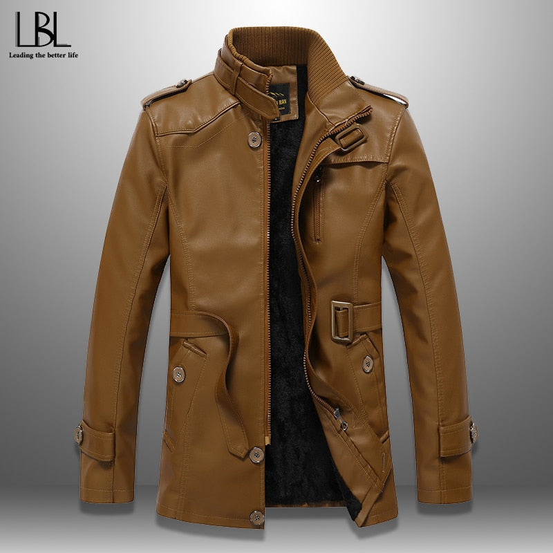 2019 New Fashion Men's Windbreaker Men Long Jackets Winter Mens Coat PU Leather Jacket Warm Fleece Windproof Overcoat Trench Top