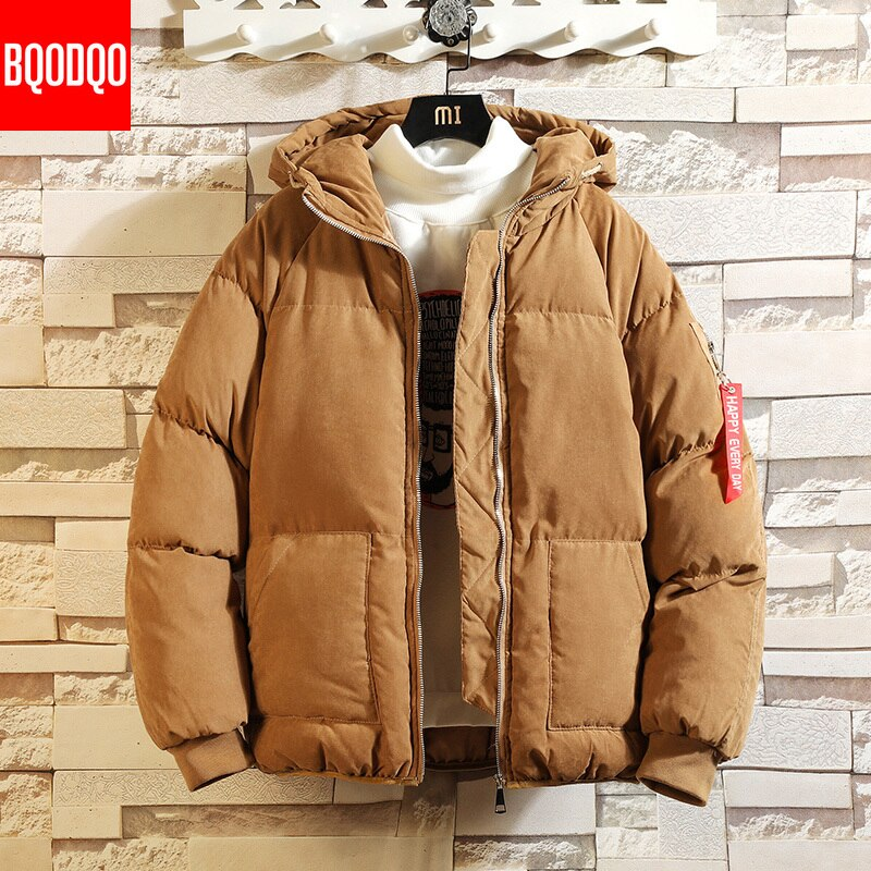 Winter Hooded Bomber Jacket Parka Men Khaki Preppy Silk-Like Cotton Jackets Black Japanese Hip Hop Streetwear Thermal Men's Coat