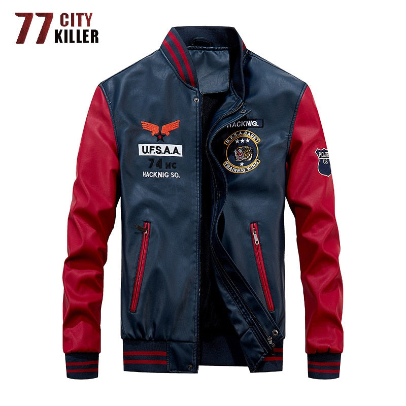 77City Killer 2019 New Leather Jacket Men Windbreaker Motorcycle Patchwork Baseball Jackets Male Fleece Warm Faux Leather Jacket