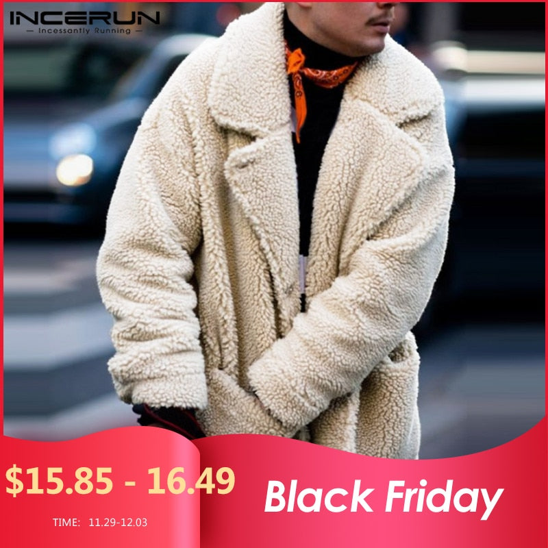 INCERUN Fashion Faux Fleece Men Coats Solid Outerwear Plush Pockets 2019 Long Sleeve Fluffy Overcoat Streetwear Men Jackets 5XL