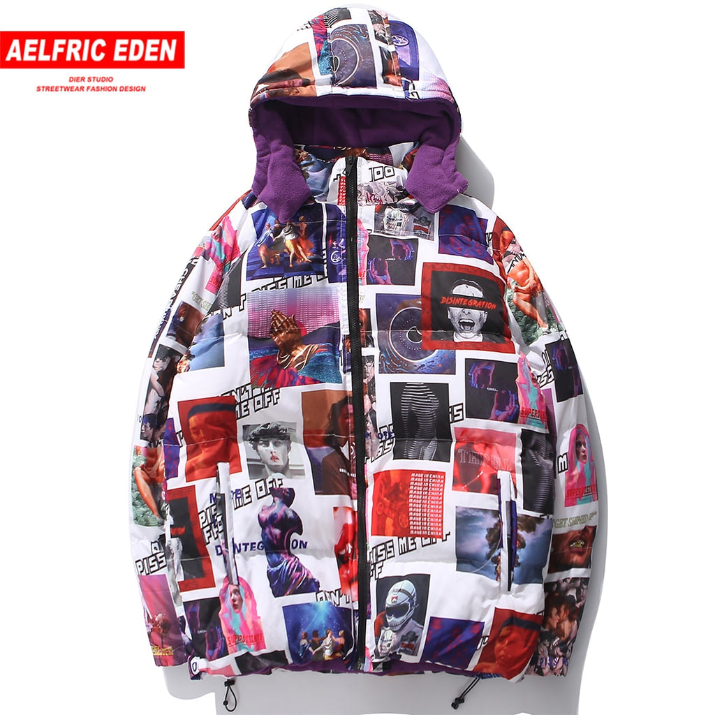 Aelfric Eden 2018 winter men's street jacket coat Parkas hip hop hat detachable warm cotton Harajuku clothing Windbreaker UR58