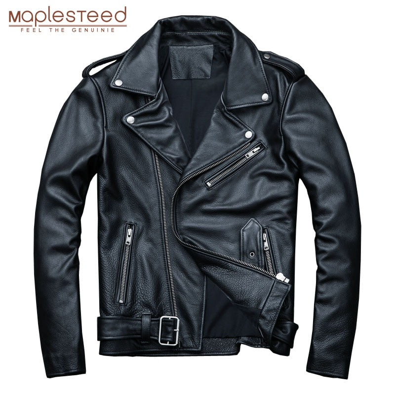 MAPLESTEED Classical Motocycle Jackets Men Leather Jacket 100% Natural Calf Skin Thick Moto Jacket Man Biker Coat Winter M192