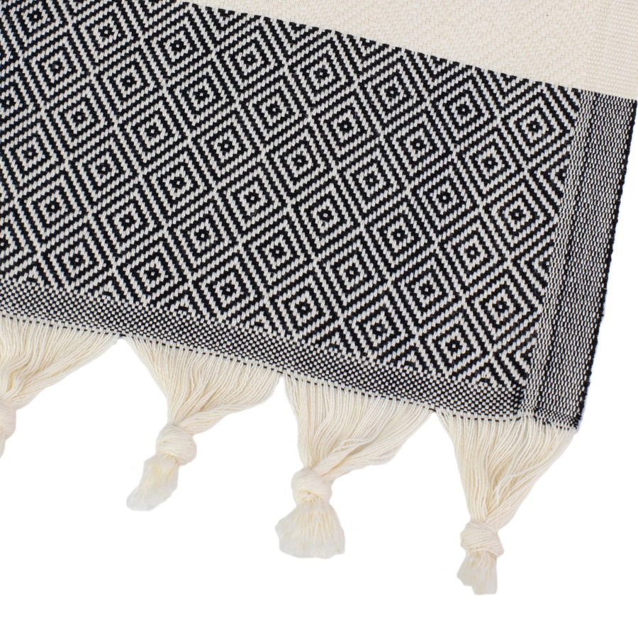 Black-and-White-Turkish-Towel-Corner-Tolu-Australia