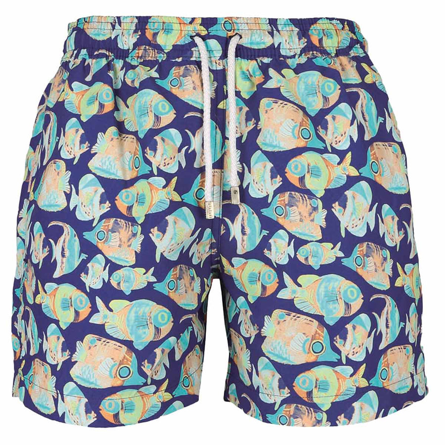 Blue tank fish men board shorts OCEA5 Tolu Australia