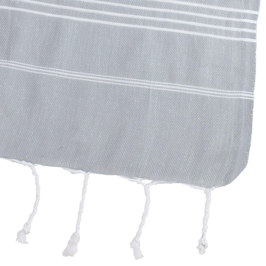 Grey and White Thin Turkish Towel Corner
