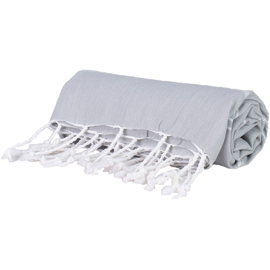 Grey and White Thin Turkish Towel Tolu Australia Roll