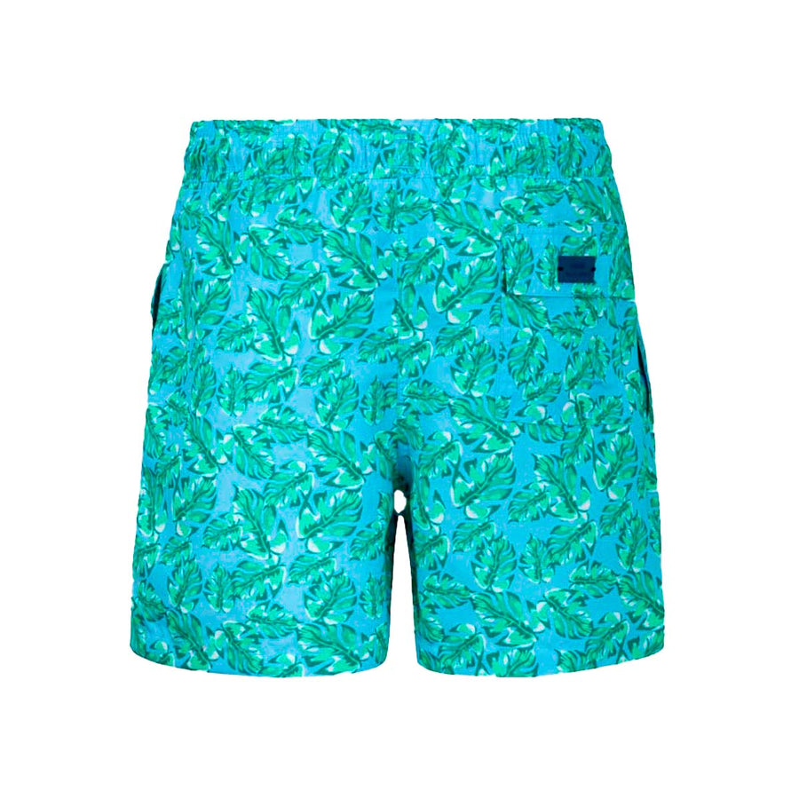 Turquoise Leaves kids boardshorts ALMA3