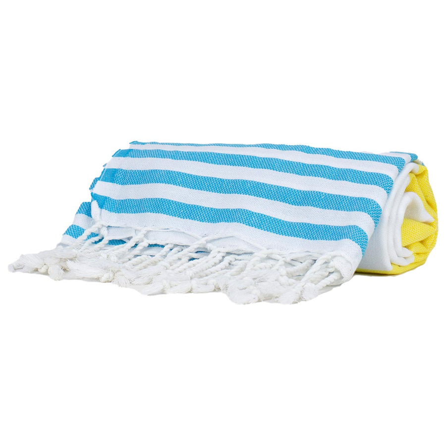 Yellow and Blue Thin Turkish Towel tolu australia