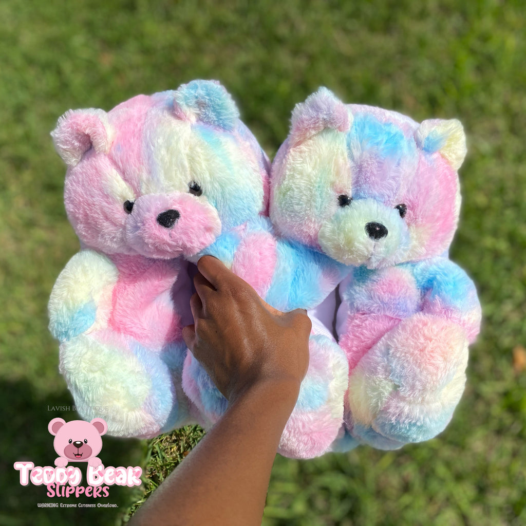 """COTTON CANDY"" Teddy Bear Slippers (ONE SIZE 5-11)"