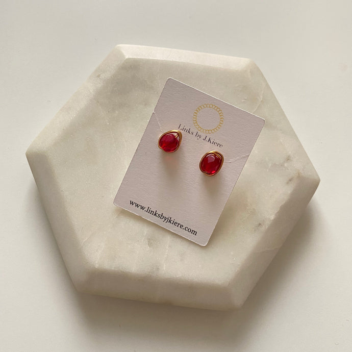 The Morgan Earring in Translucent Ruby Red